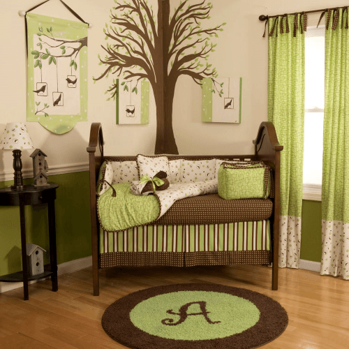 baby room-green and brown