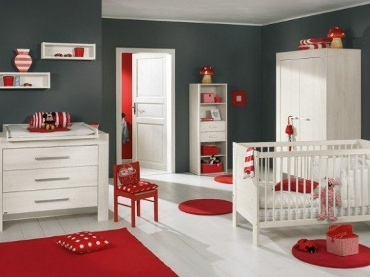 baby room-red and white