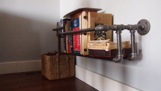 bookshelf-industrial pipe