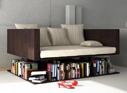 bookshelf-under sofa