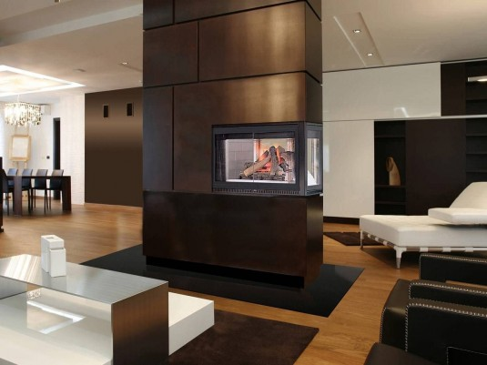 contemporary living room witg fireplace