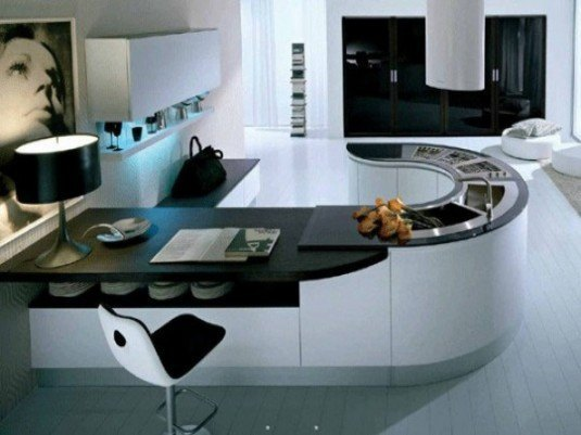 curved kitchen island-black and white