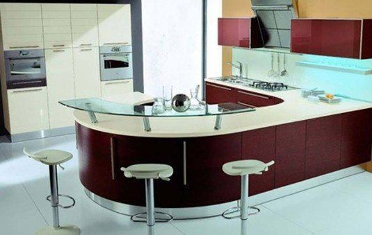 curved kitchen island-maroon and white