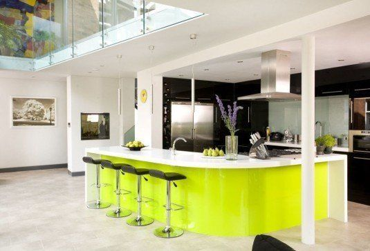 curved kitchen island-neon yellow