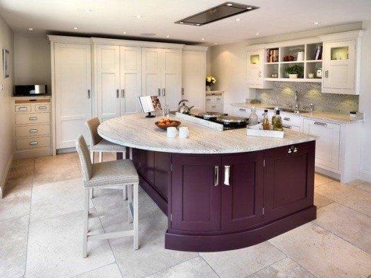 curved kitchen island-purple