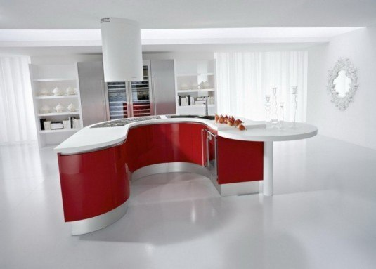 curved kitchen island-white and red