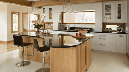 curved kitchen island-wood