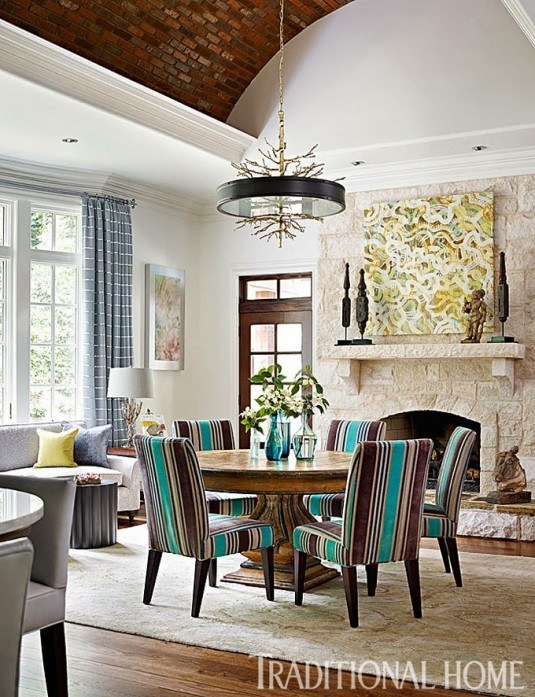 dining table-striped chairs