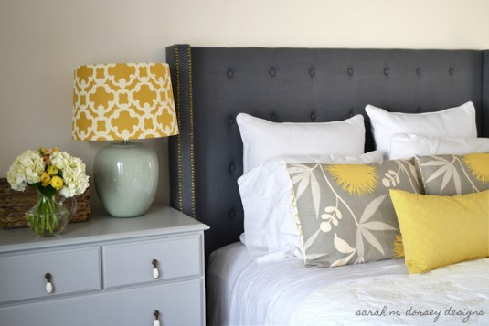 diy tufted headboard-gray&gold