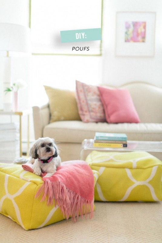 dog bed-yellow and white