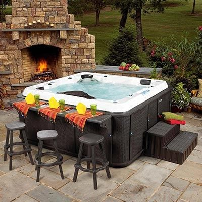 hot tub with a bar counter