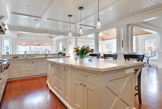 kitchen island lighting-big white kitchen