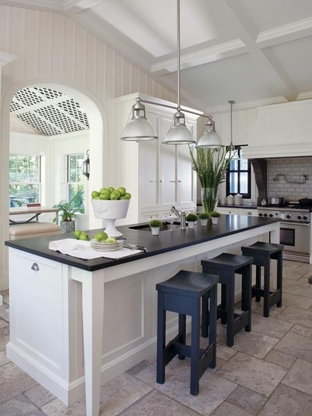 kitchen island lighting-black and white kitchen