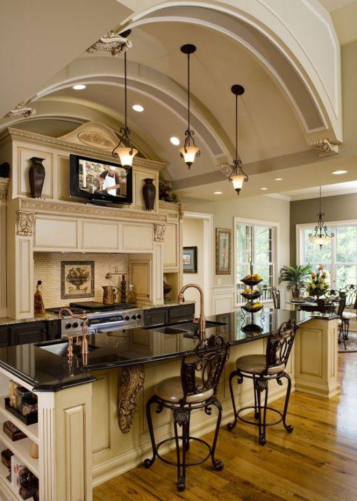 kitchen island lighting-luxury black and white kitchen