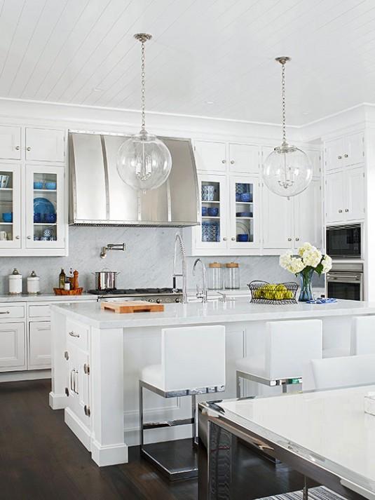 kitchen island lighting-white kitchen