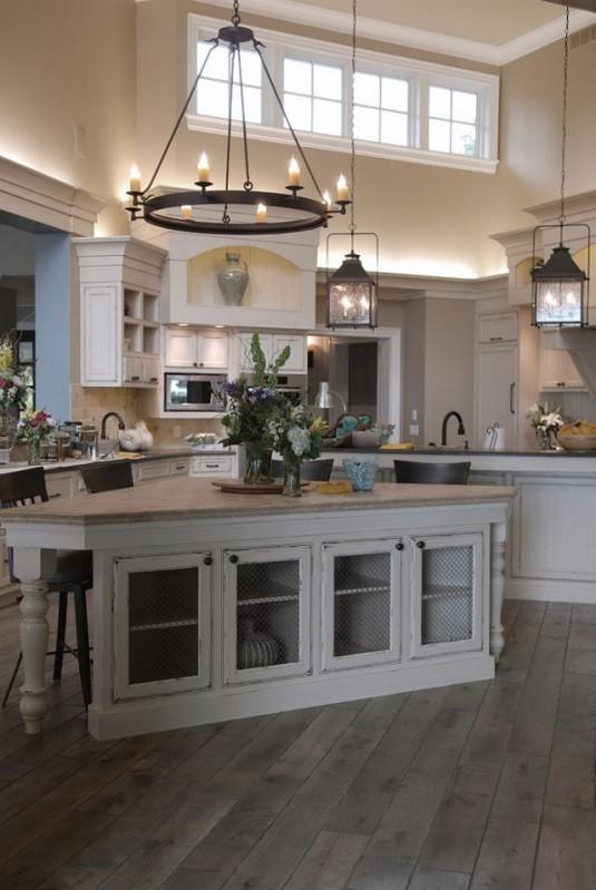 kitchen island lighting-wooden kitchen