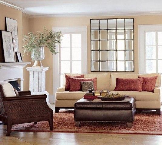 living room-multipanel wall mirror