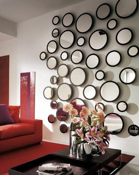 living room-round mirrors