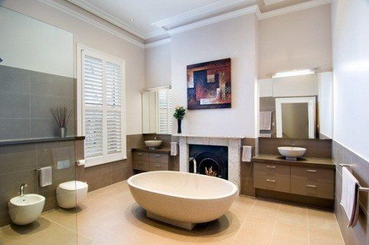 modern bathroom-round bathtub