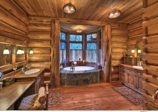 modern bathroom-wood
