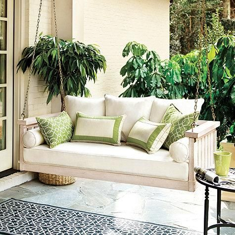 patio swing-white and green