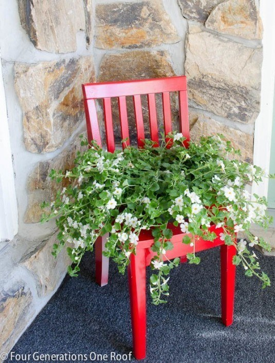 red chair planter