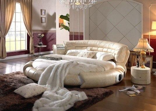round bed-beige