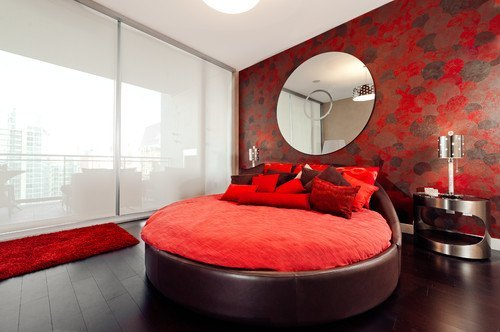 round bed-red