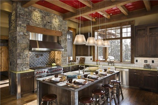 rustic kitchen-stone wall