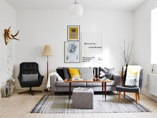 scandinavian living room-graphic pattern