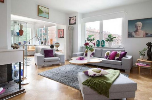 scandinavian living room ideas - gray and purple