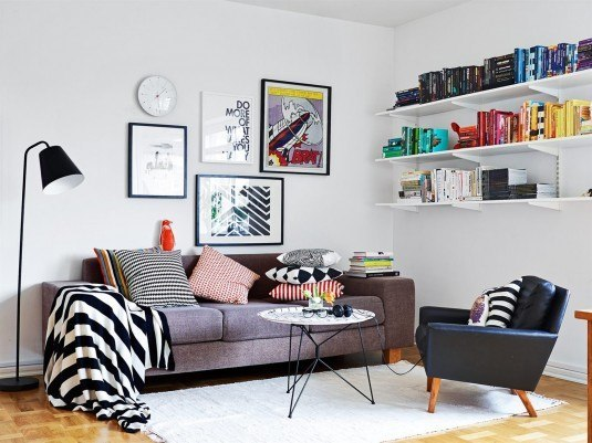scandinavian living room-stripes
