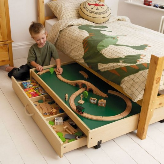 space saving bed-toys