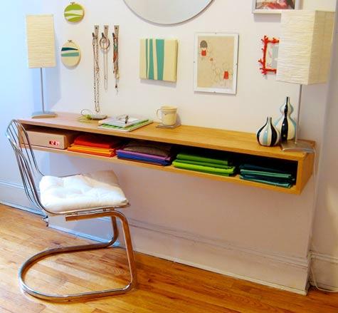space saving desk - minimalist oak desk