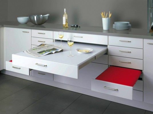 space saving dinning table-open shelves