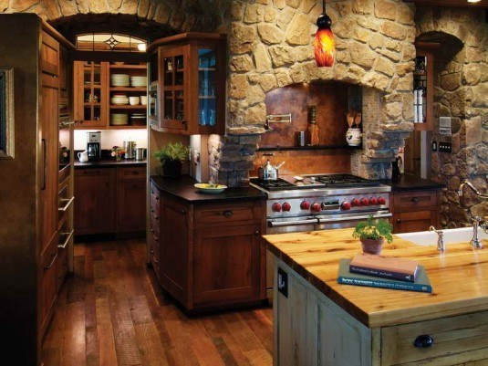 stone wall-antique kitchen
