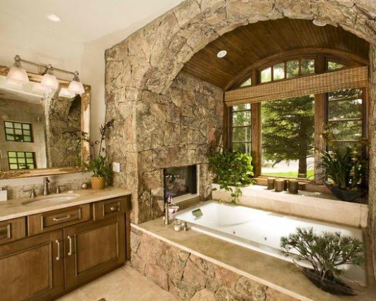 stone wall-bathroom