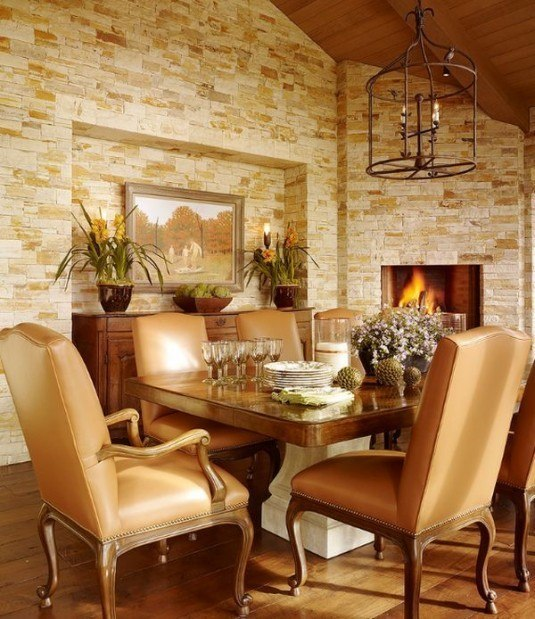 stone wall-modern dining room