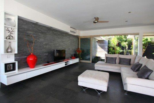stone wall-modern living room