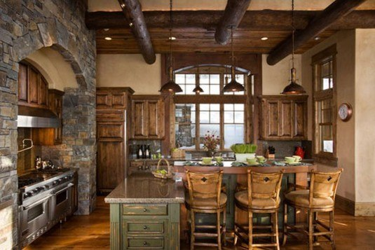 stone wall-rustic kitchen