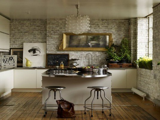 stone wall-small kitchen