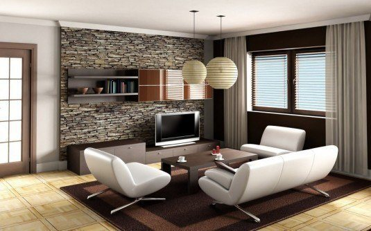 stone wall-small living room