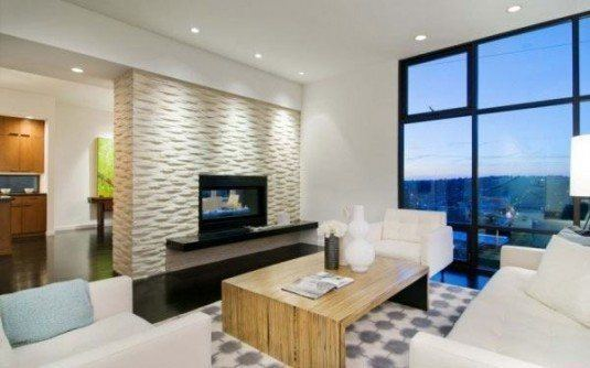 stone wall-white living room