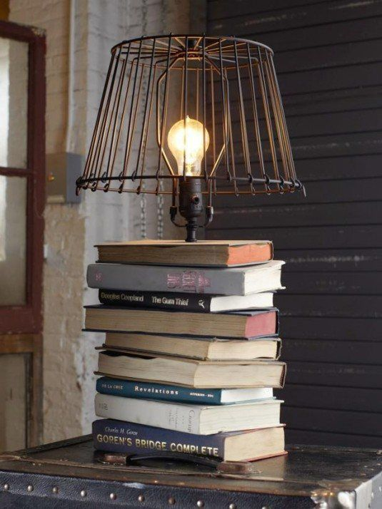 table lamp-stacked books