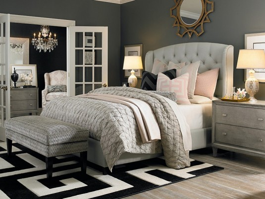 tufted bed-beige