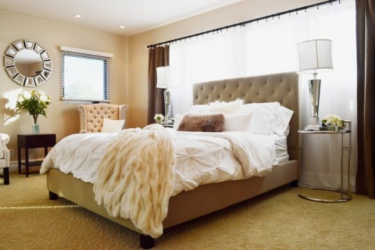 tufted bed-brown