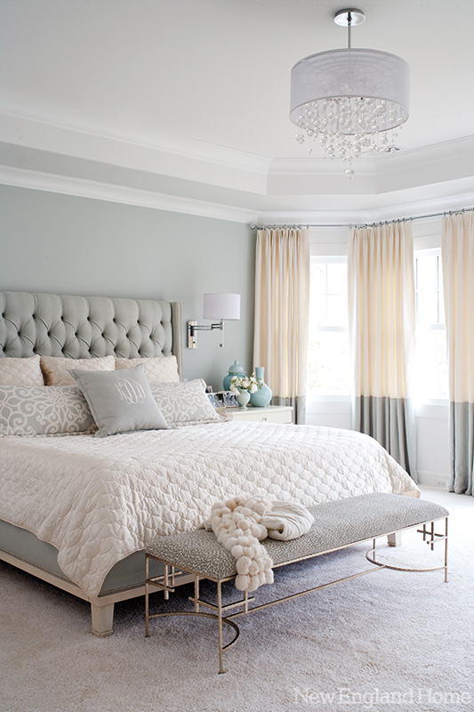 tufted bed-grey
