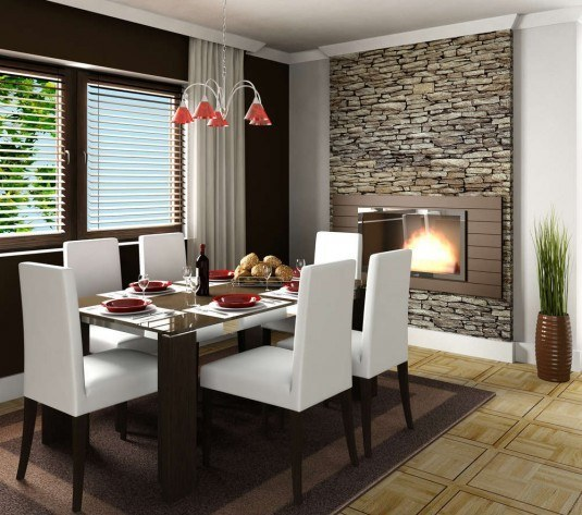 wall stone-dining room