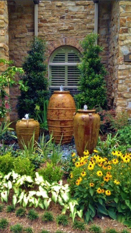 water feature-pots