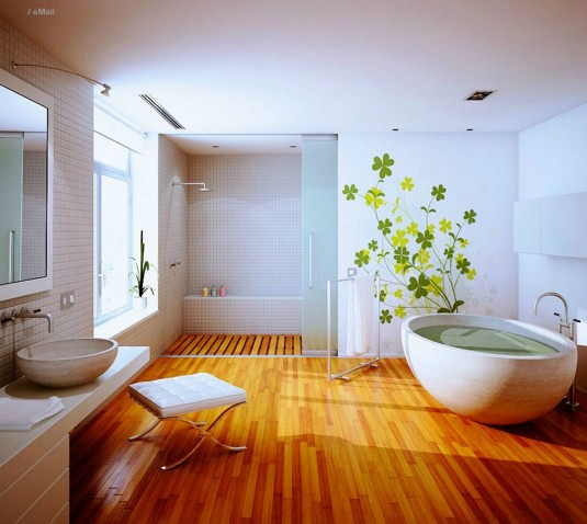 wooden bathroom-floor